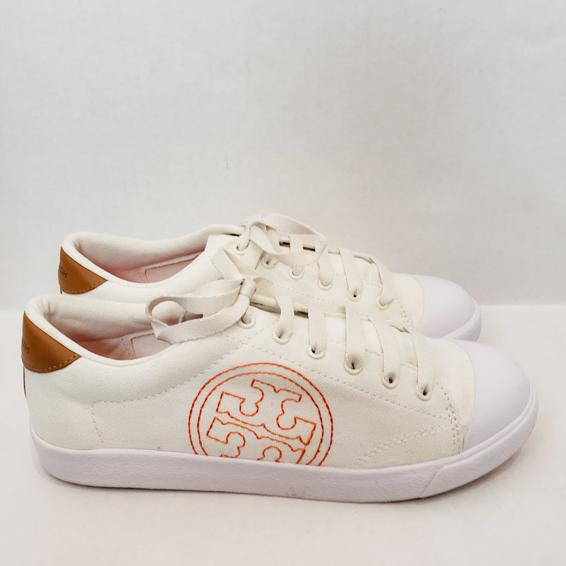 Tory Burch Canvas Sneakers<br /> Ivory, Leather Stitch Logo<br /> NEW! In the BOX<br /> SIze 9