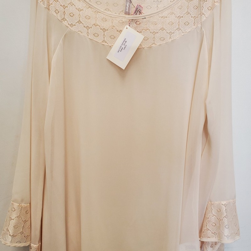 2Tee Couture NWT<br /> Mia top<br /> Oatmeal<br /> Retail $91.00<br /> Large
