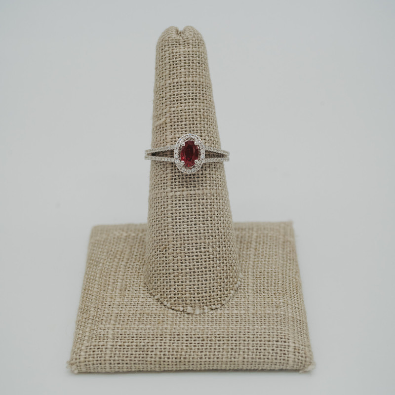 14K White Gold 0.50Carat Ruby center with 0.4ct Diamond halo and band<br /> <br /> #ruby #halo #birthstone #engagement #birthday #wedding #ring #new