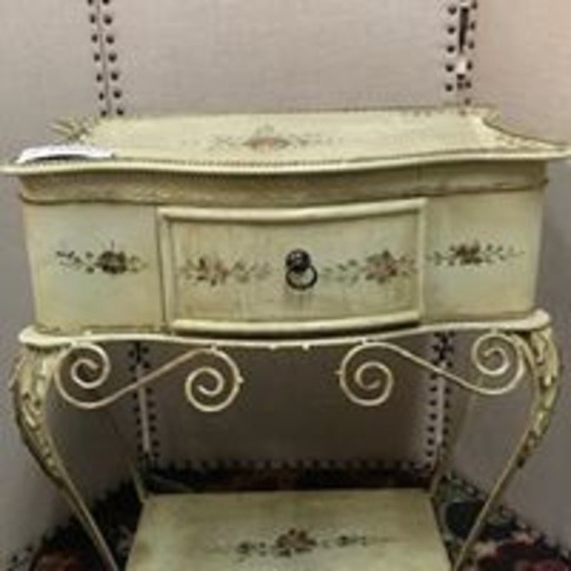 Metal Floral 1 Drw Accent Table<br /> Creme Green Pink Size: 18x13x25H