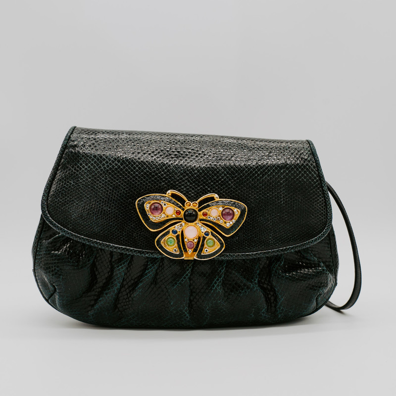 Judith Lieber Black Snakeskin Clutch with amethyst rose quartz, jade, onyx and tigers eye<br /> <br /> #judith #lieber #swarovski #vintage #purse #clutch #handbag #designer