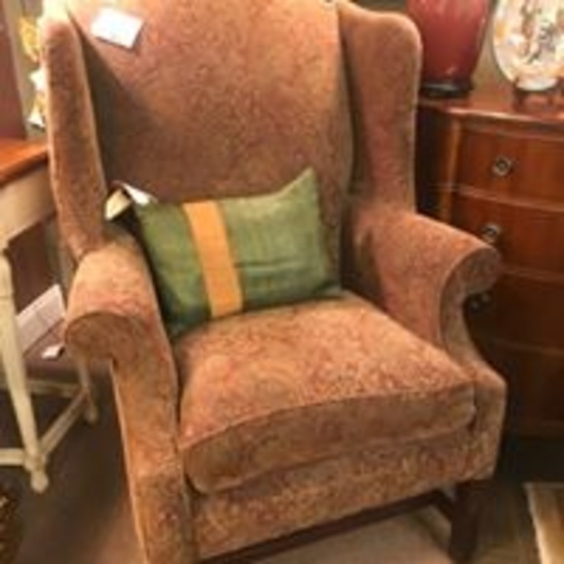 Century Wing Back Paisley Living Chair<br /> Brown Rust Black Size: 33x34x36H