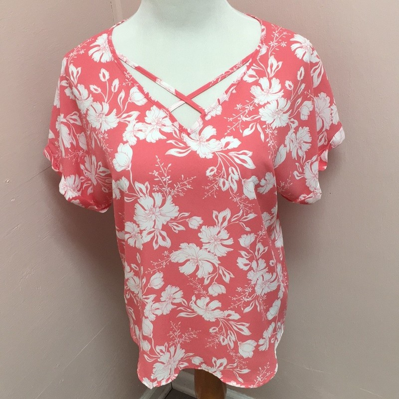 Pink Rose Floral Top, Pink, Size: Large