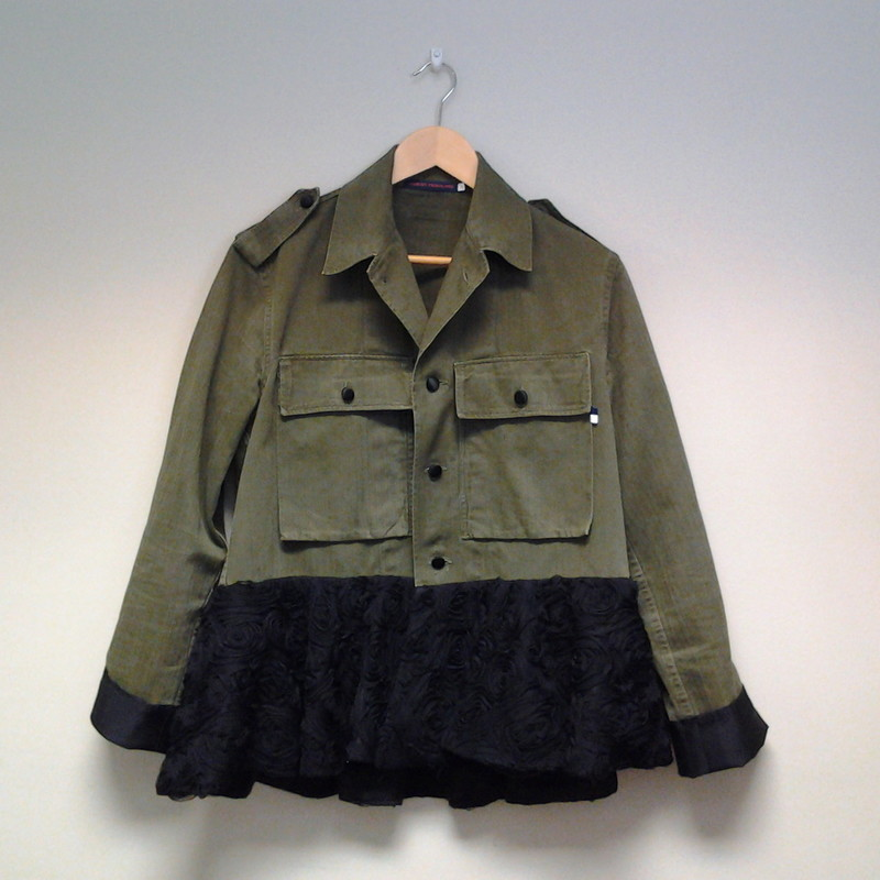 Harvey Faircloth Jacket, Rosette Peplum<br /> Size Extra Small<br /> Green/Black<br /> $165.00