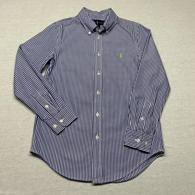 Striped poplin shirt with button down collar