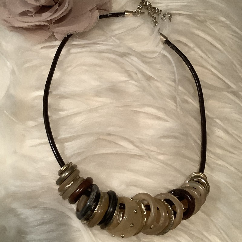 Brn Leather Bead Necklace