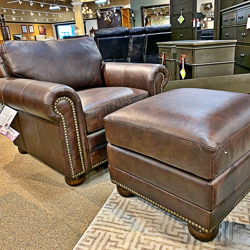 Athens Chair + Ottoman, None, Size: LLHH<br /> #new #sofa #leather #usa #american<br /> This chair + ottoman is part of a living room set<br /> Can be custom ordered in hundreds of leathers and fabric options.<br /> <br /> To find matching pieces search the following numbers<br /> Sofa - 83386<br /> Loveseat - 83387<br /> To see everything this company has to offer check out www.omnialeather.com