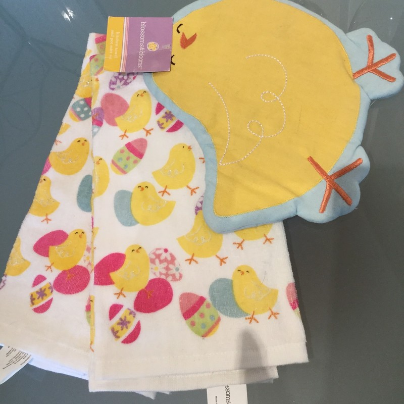 Easter Tea Towel and Pot Holder Set<br /> Yellow & White<br /> Set Of 3