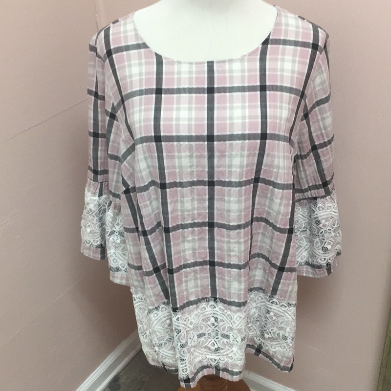 Lany Bryant Plaid Top, Pink, Size: 14/16