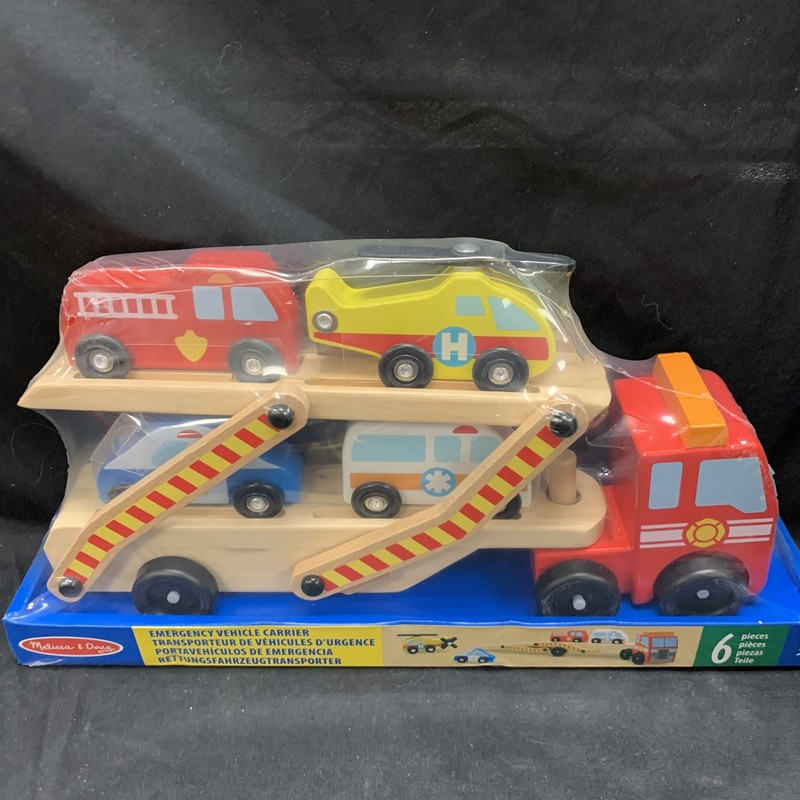 Emergency Vehicle Carrier, Wood, Vehicle<br /> Ages 3+<br /> 6 pieces
