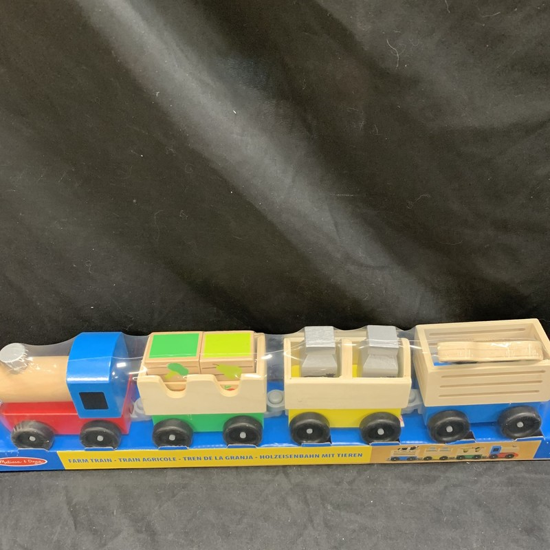 Farm Train, Wood, Vehicle<br /> Ages 3+<br /> Wooden cargo pieces are removable for endless loading and unloading fun!