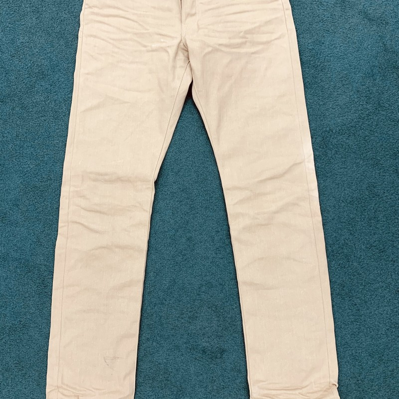 "$300 Fabric Brand Jeans<br /> Color: Tan<br /> Size: 31"" W 35"" L<br /> Condition: Excellent"