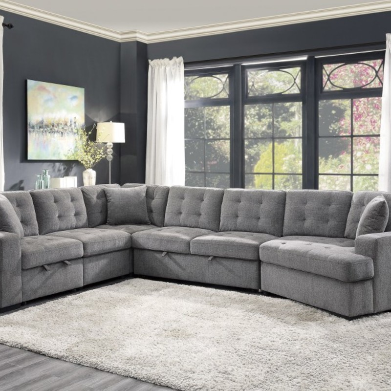 Sectional W/ Hide A Beds, 9401, Size: BMHH<br /> <br /> With ample space to stretch out or snuggle up with the one you love, the Logansport Collection is the perfect platform for you to indulge in comfort. Configurable to a large-scale space, the left-side two-seat base with pull-out ottoman, accommodates the addition of the corner unit, armless two-seater with pull-out bed, and right-side cuddler. The sofa can also be scaled for a smaller space with the left-side two-seat base with pull-out ottoman, paired with the right-side cuddler unit. Coordinating toss pillows are included with the left two-seater, corner and cuddler. The Logansport Collection features a gray chenille cover furthering your plush seating experience.