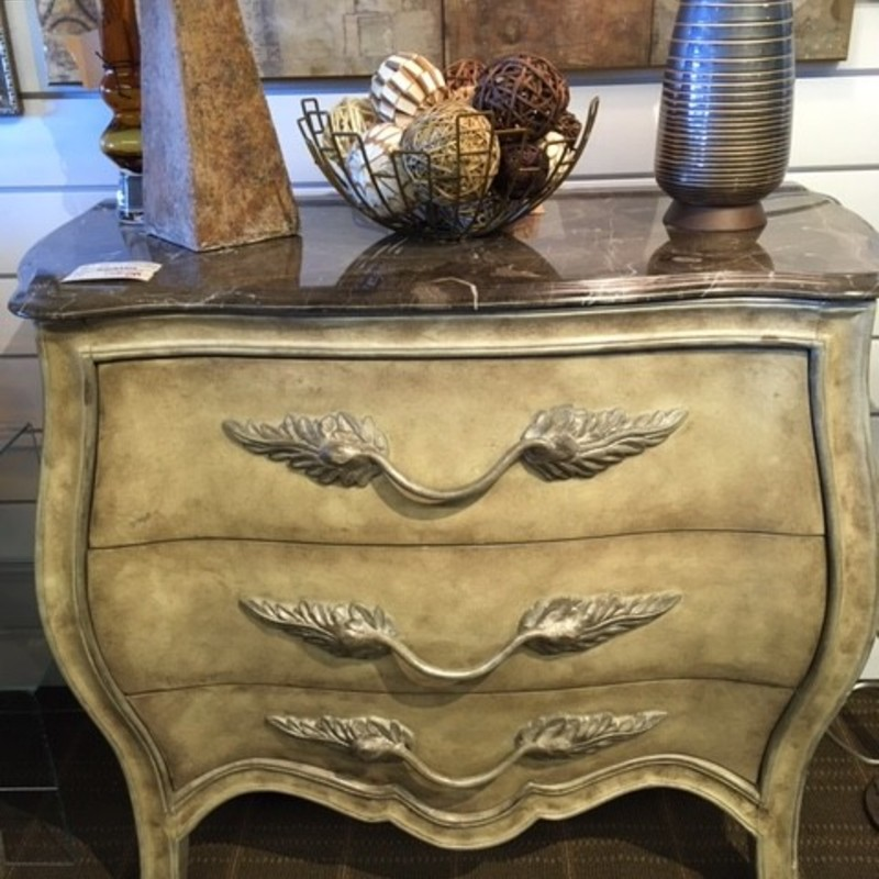 Marble Top Bombe 3 Drw Accent Table<br /> Taupe Grey Size: 38x20x33H