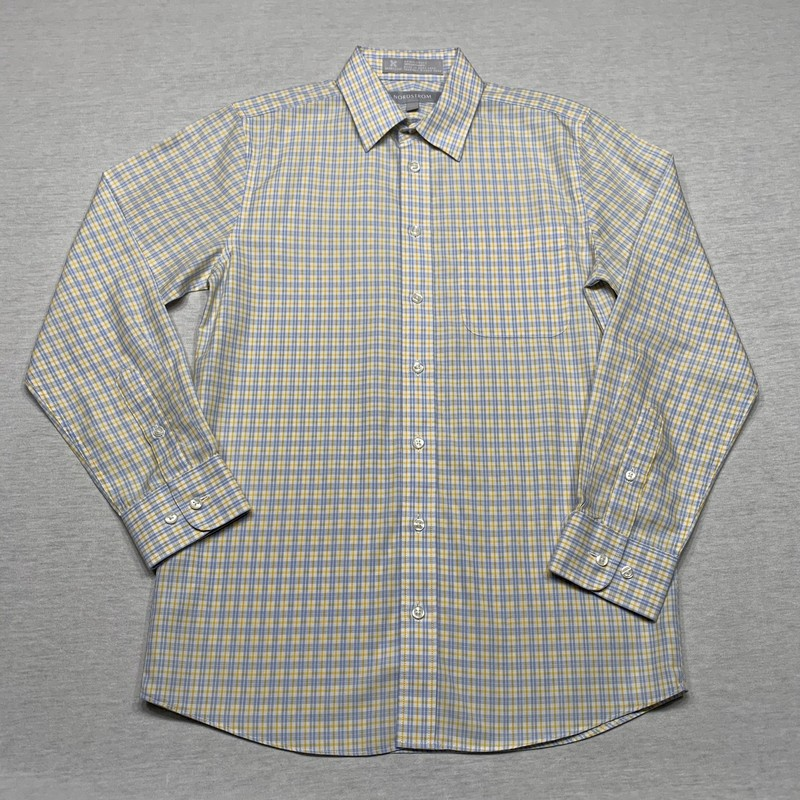 Plaid wrinkle-free dress shirt