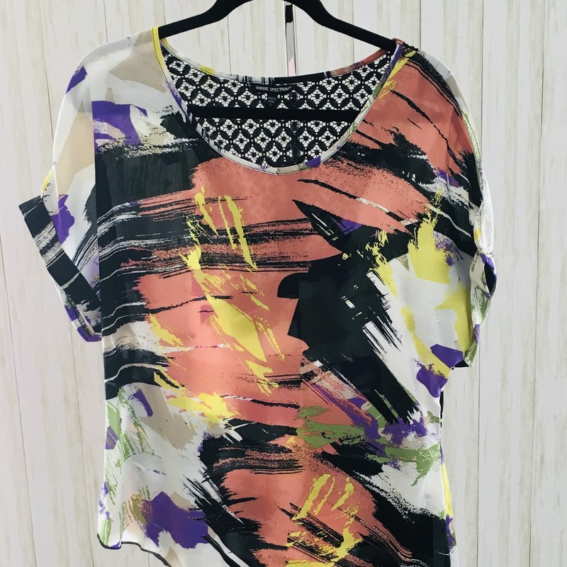 Asymetrical top with comfortable dolman sleeves and fun, crazy wild print.  New with tags, retail $52.00