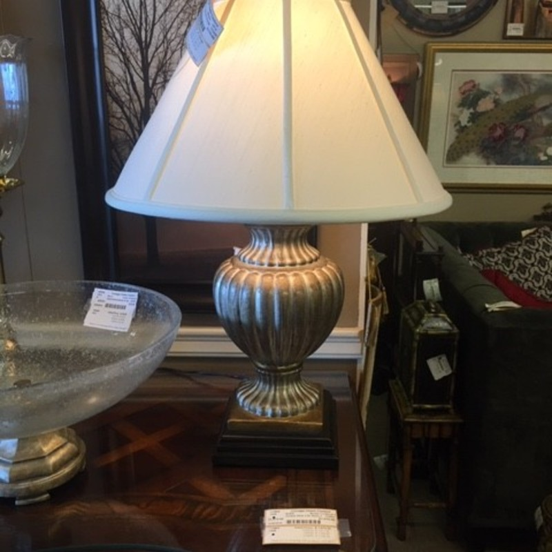"Wildwood Urn Lamp Creme Shade<br /> Gold Silver Size: 28""H"