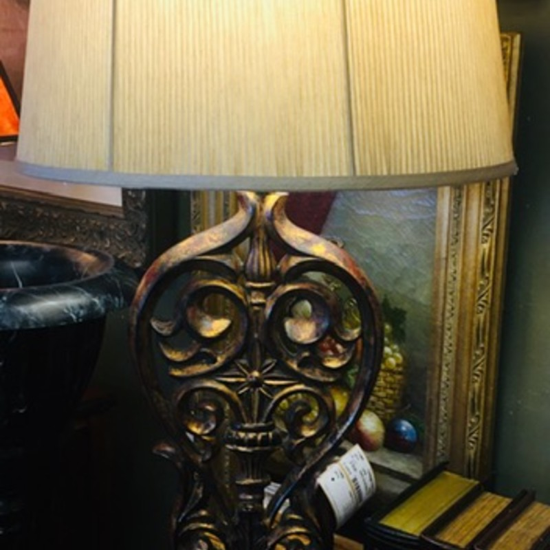 "Open Scroll Resin Lamp Tan Shade<br />  Brown Gold Size 38""H"