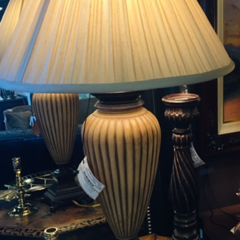 "Ethan Allen Fluted Lamp Creme Shade<br /> Tan Brown Size: 33""H"