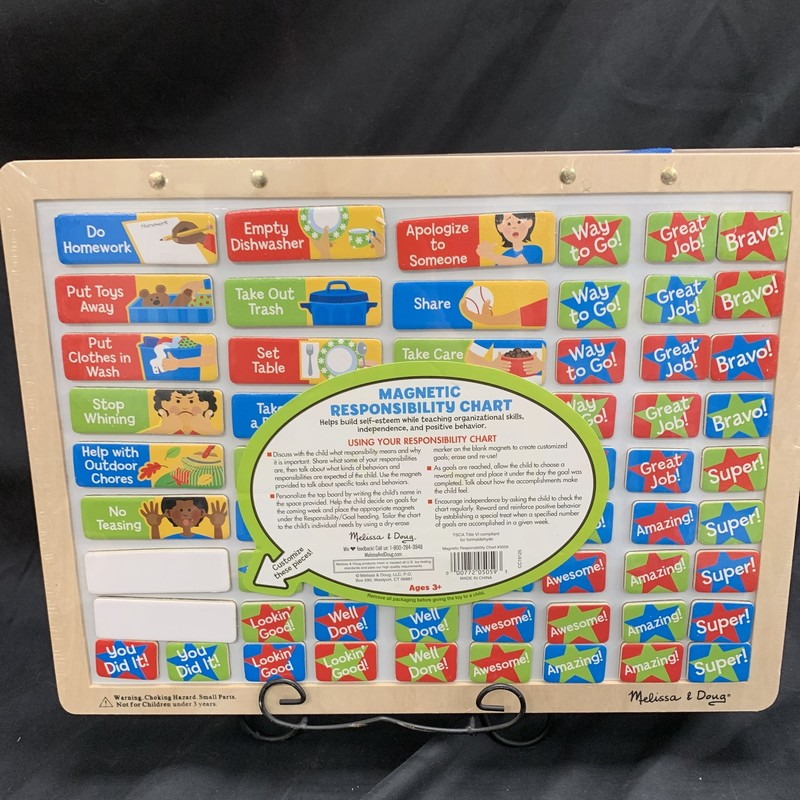 Responsibility Chart, Wood, Preschool<br /> Ages 3+<br /> 89 magnets!<br /> Helps build self-esteem while teaching organizational skills, independence and positive behaviour!