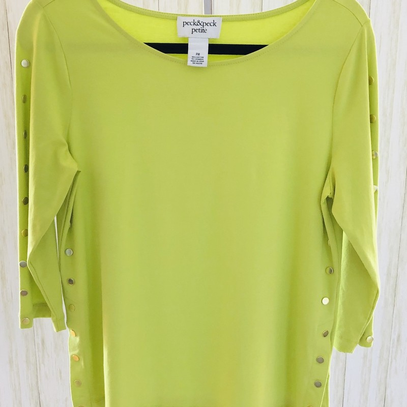 Peck & Peck lime top with studs up the sleeves and down the sides to the split hem!  So adorable!