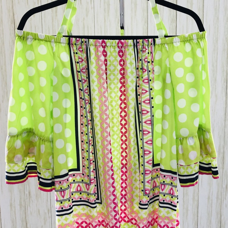The most fun top from Crown & Ivey.  Lime and pink, polka dots and an off the shoulder boho vibe!  Awesome!