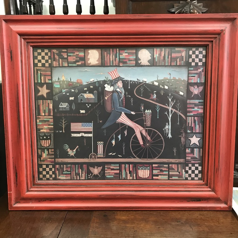 "Maria Pfropper signed limited edition print with COA. This is a great Uncle Sam piece that would look great in any room. Approx 26""x22"""