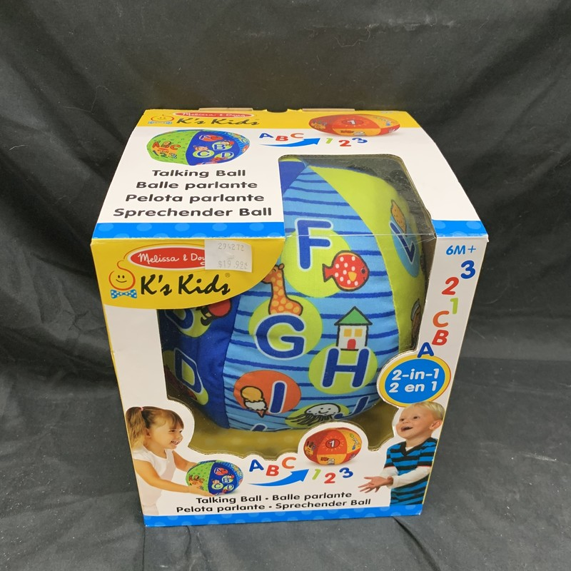 Talking Ball, Plush, Infant<br /> Ages 6mos+<br /> K's Kids<br /> Abc, 123 talking balls 2-in-1