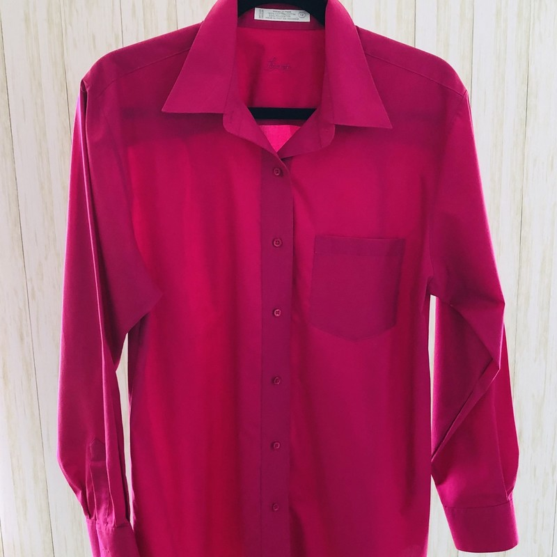 One of those fab No Iron shirts from the master of shirtmakers - Foxcroft.   A rich raspberry color.  You can wear this with a tank underneath and tied at the waist - or not!  Classic!