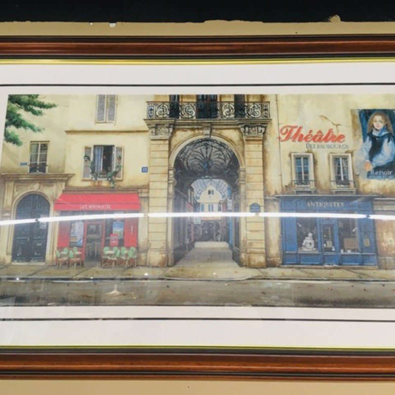 Antiquities StoreFront Print BrFr<br /> Creme Red Blue As Is Size:45x28H