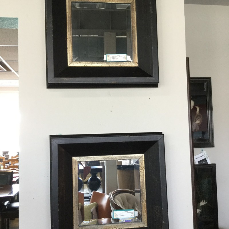 "Square Mirror, Black/Gold, Size: 18"" Square, 2 Available"