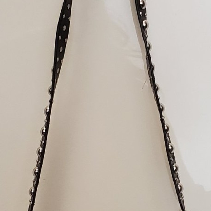 "Michael Kors<br /> 100% leather with calf hair trim<br /> Fold over closure with magnetic back pocket<br /> Studded 21"" strap<br /> Approx. 9"" tall<br /> Approx. 10"" wide"