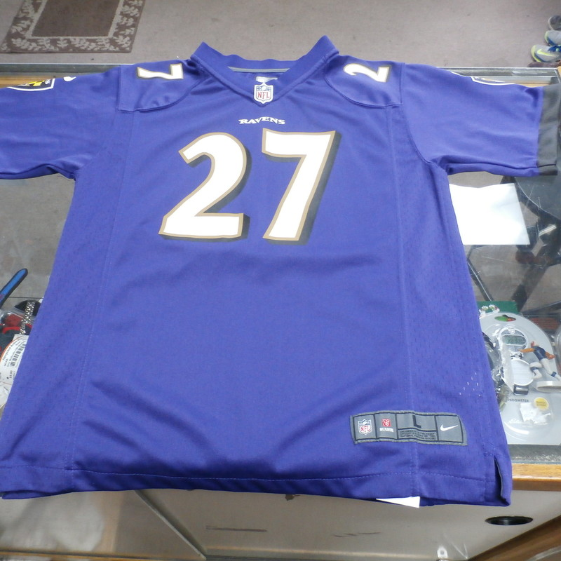 Baltimore Ravens Ray Rice #27 Nike YOUTH Jersey Size Large(14/16) #15410<br /> Rating:   (see below) 3 - Good Condition <br /> Team: Baltimore Ravens<br /> Player: Ray Rice<br /> Brand: Nike <br /> Size: Large(14/16) - Youth(Measured Flat: Across chest 19&quot;, length 26&quot;)<br /> Measured flat: arm pit to arm pit; top of shoulder to the hem<br /> Color: Purple<br /> Style: screen pressed jersey<br /> Material: Polyester  <br /> Condition: - Good Condition - wrinkled; material looks and feels good; light pink stain on the #8 on the front; light fuzz; no stains rips or holes(PLEASE SEE PHOTOS)<br /> Item #: 15411<br /> Shipping: $3.92