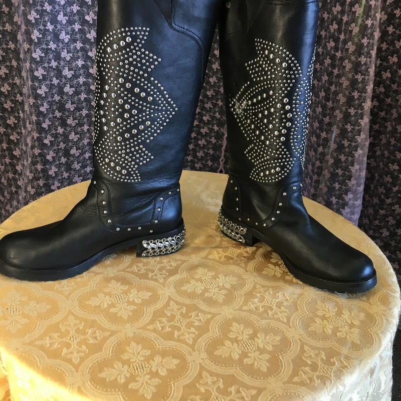 Studed Leather Moto Boots.