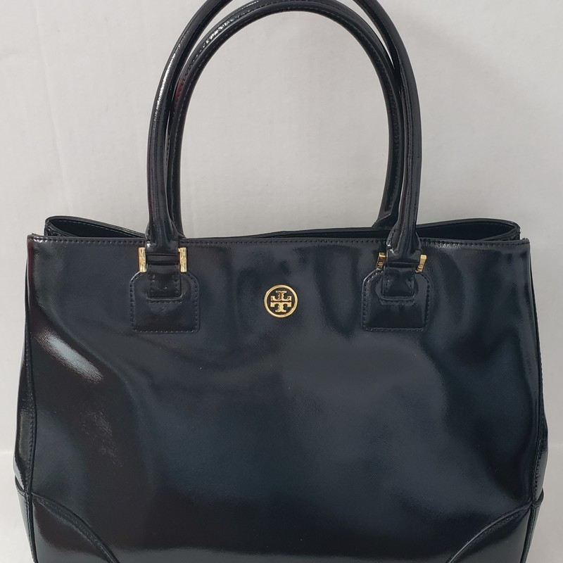 Tory Burch<br /> Black Patent Tote<br /> W/Dust Bag<br /> Top Handle