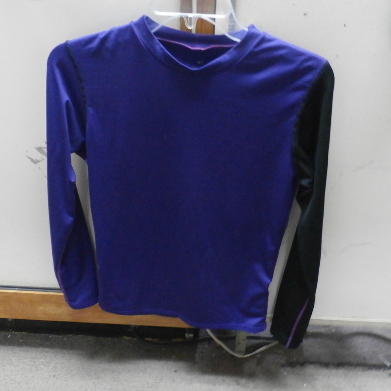 "Nike Dri-Fit women's athletic shirt long sleeve purple size medium #15806<br /> Rating:   (see below) 3 - Good Condition <br /> Team: n/a<br /> Player: n/a <br /> Brand: Nike<br /> Size: Medium- women's (Measured flat: across chest 17"", length 24"")<br /> Measured flat: armpit to armpit; top of shoulder to the bottom hem<br /> Color: Purple<br /> Style: Athletic shirt; Dri-Fit; long sleeve<br /> Material: 82 polyester 18 Spandex <br /> Condition: - Good Condition - wrinkled; material is slightly faded; interior neck tag is barely cracked and worn; a few tiny snags; gently used; (PLEASE SEE PHOTOS)<br /> Item #: 15806<br /> Shipping: $3.37"