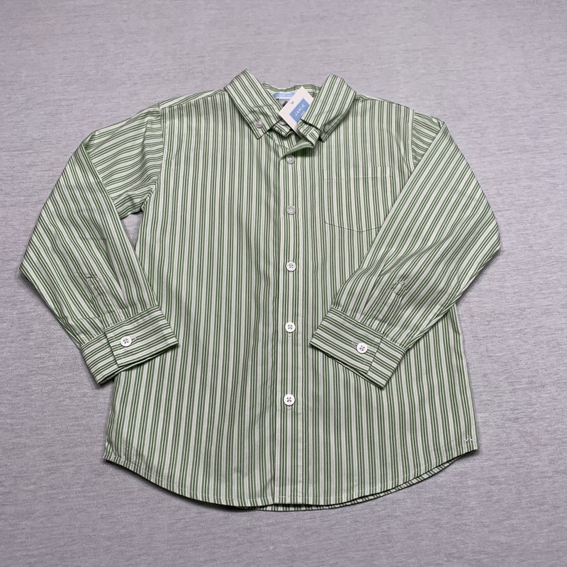 NWT Striped poplin shirt with patch pocket & button down collar