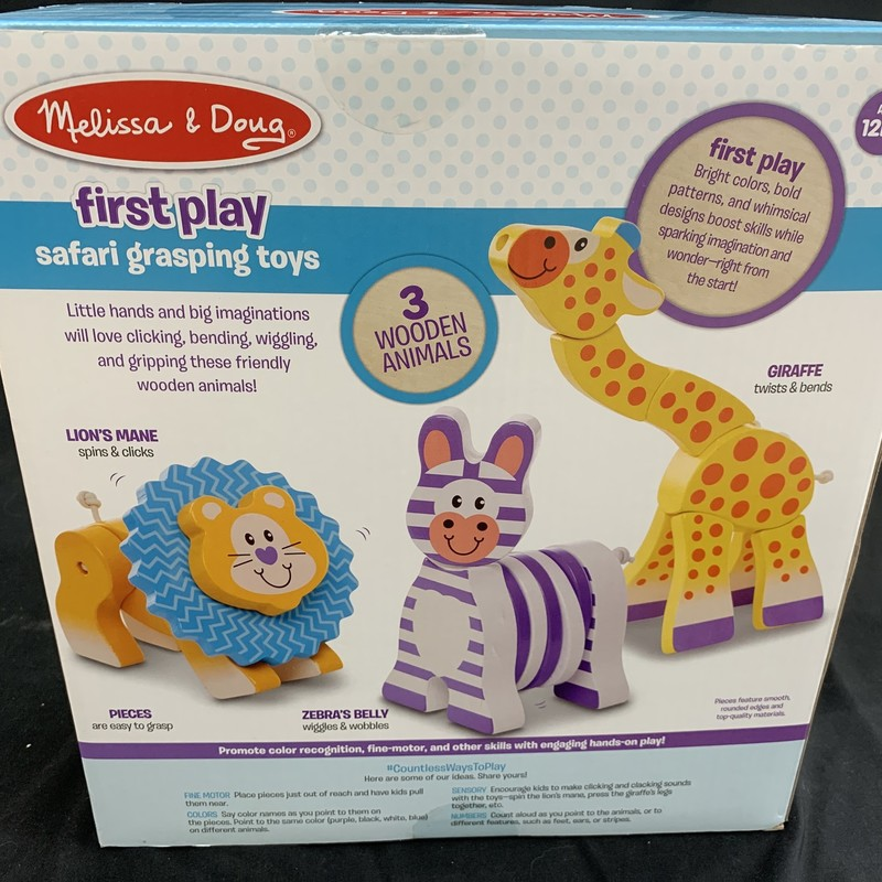 Safari Grasping Toys, Wood, Infant<br /> Ages 12 mos+<br /> 3 wooden animals<br /> <br /> First Play:<br /> Bright colours, bold patterns, and whimsical designs boost skills while sparking imagination and wonder - right from the start!