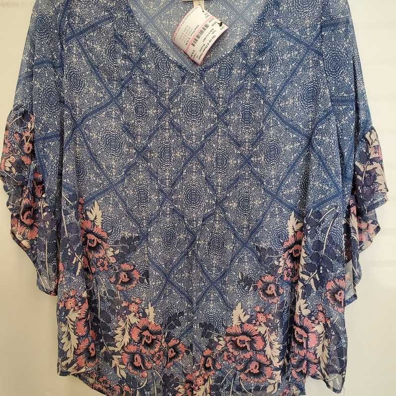 Style & Co NWT<br /> BoHo Free<br /> Blue and Pink<br /> Sheer with ruffled sleeves<br /> 1X