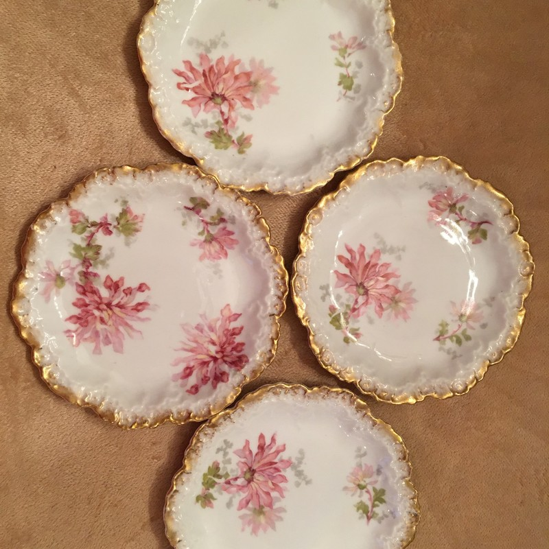Limoges France dessert plates. Pink floral; gold trim. Set of 4. No chips; perfect condition!