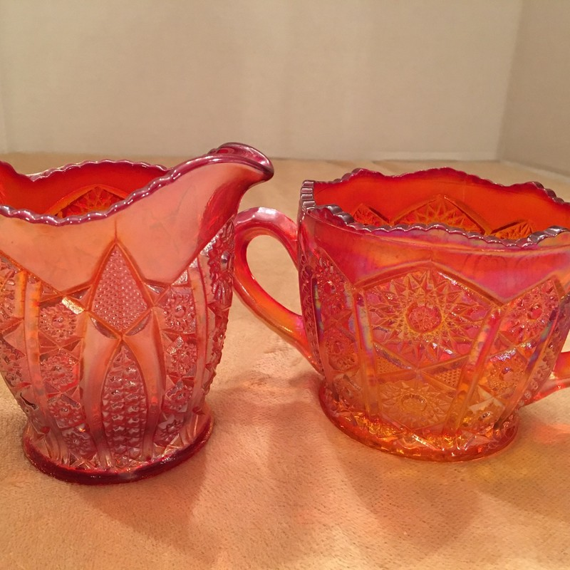 Heirloom sunset red carnival glass. Open sugar/creamer. No chips; perfect condition!