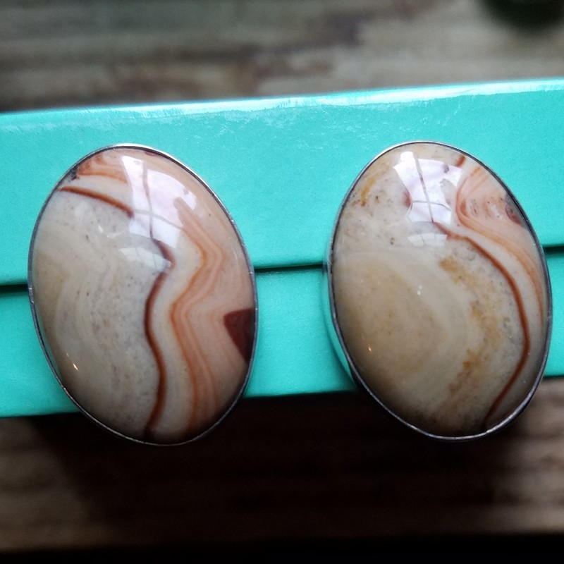 Sterling Silver Clip Earrings By Designer Gundi of Silver Creations Southwest<br /> These are Amazing Agate CLIP ON Earrings<br /> new price $220