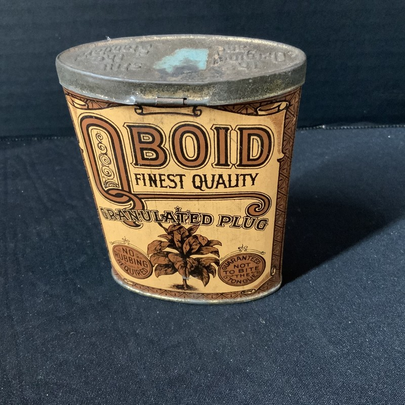 Tobacco Tin, Oboid hinged and embossed lid