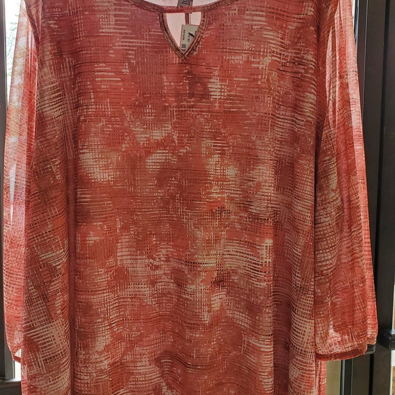 Catherines top<br /> Sheer 3/4 length sleeve<br /> Pink/beige<br /> 26/28W