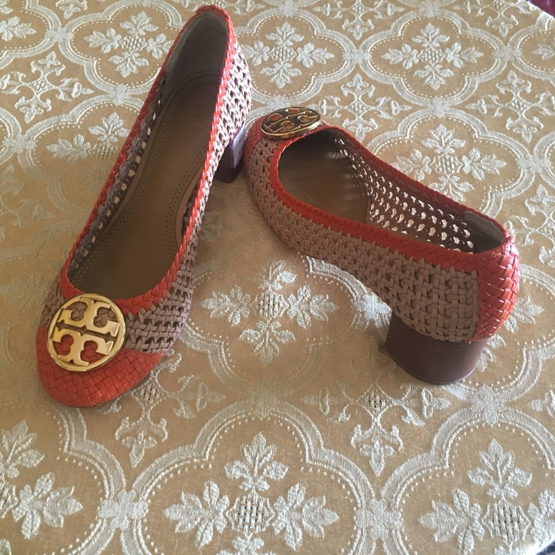 Designer Woven Leather Pump, Camel/orange, Size: 8M.  Who doesn't love the class of Tory Burch.  Love the color scheme of camel & orange.   Great paired with a summer dress or romper, etc.  You decide.