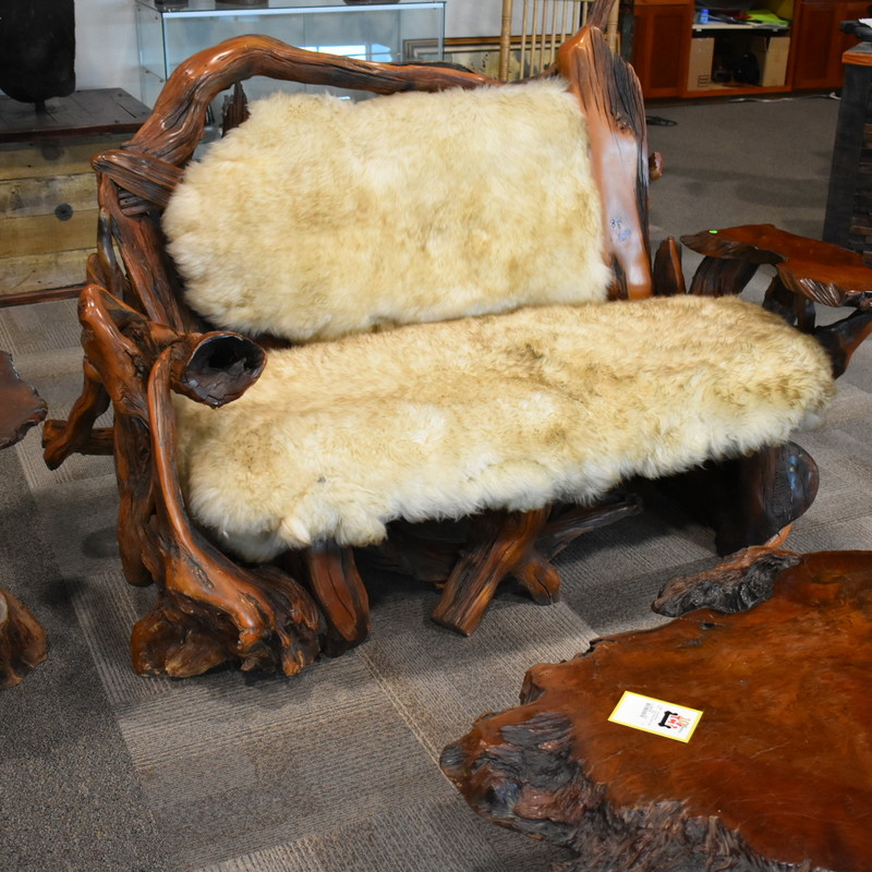 sheepskin rustic bench, coffee table and end table.