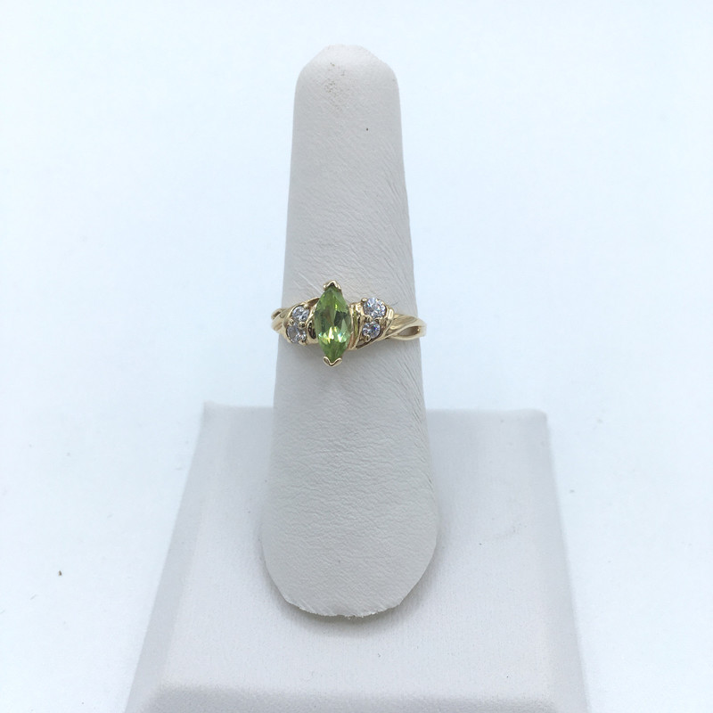Peridot Diamond Ring in a 10 K Gold setting ,<br /> Size: 6.5<br /> Price - 179.00