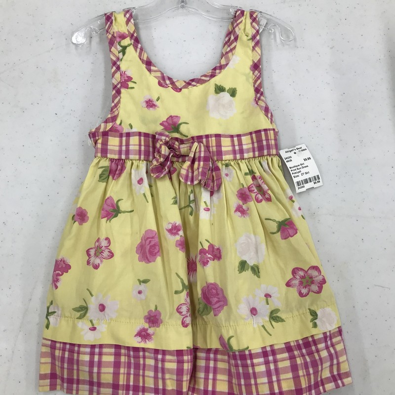 Print Sun Dress, Pnk/yell, Size: 2T Girl