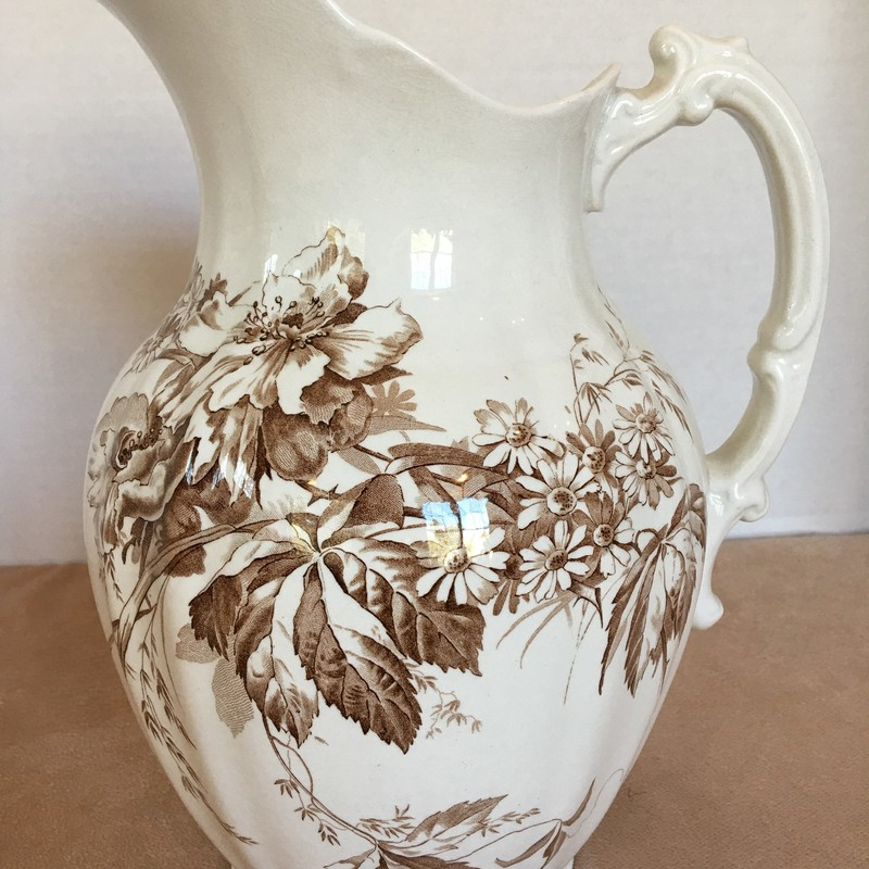 Brown floral pitcher. England. No chips; beautiful condition!