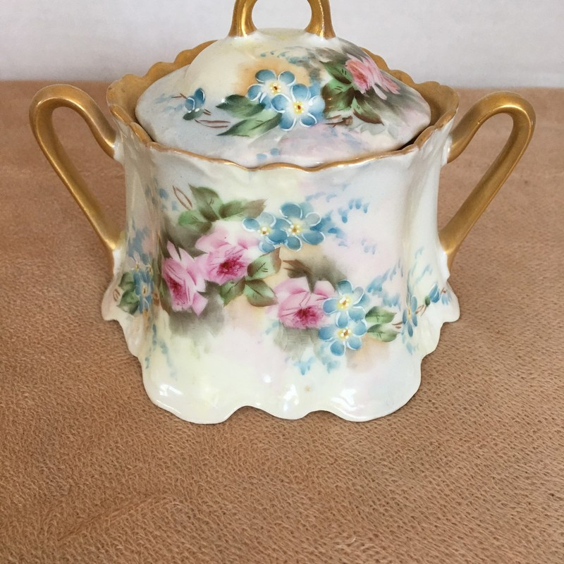 Bavaria sugar bowl. Pink and blue floral. Gold accents; no chips; beautiful condition!